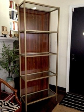 Gold and wood etagere glass shelves coldren design