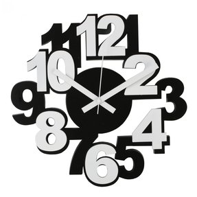 Modern Funky Black White Wall Clock