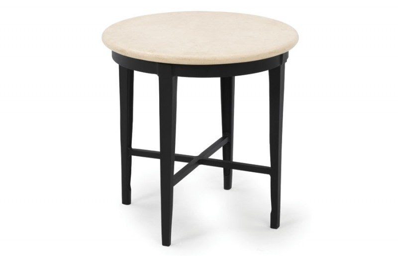 Outdoor End Tables Montoro Round End Table Travertine Stone Top