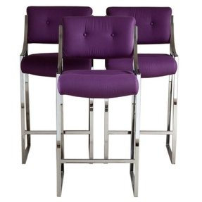 Awesome Purple Leather Bar Stools