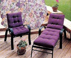 Purple patio cushions