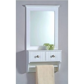 Taymor decorative wall mirror with drawers and towel bar