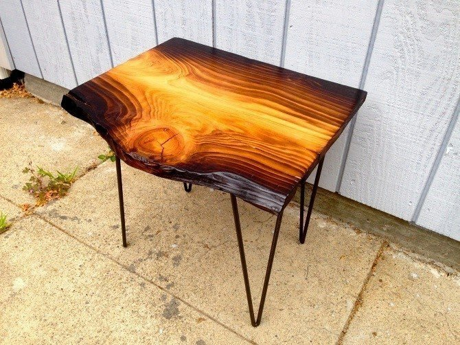Torched Cedar Slab End Table On 18 Raw Steel Hairpin