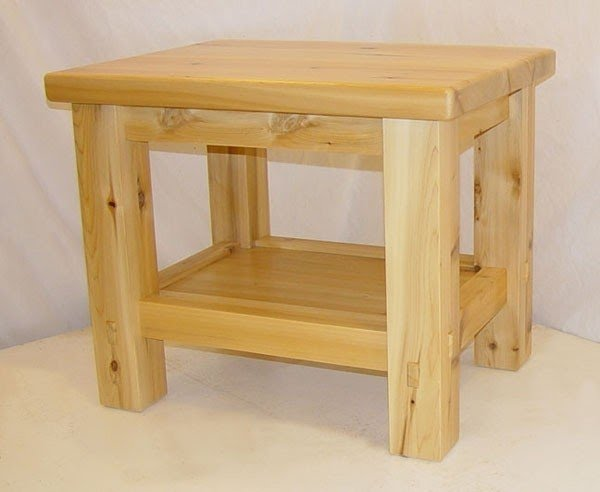 Attirant When Ordering Log Northern White Cedar End Table One Drawer
