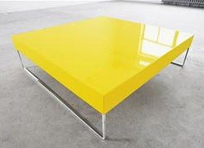Contemporary Simple Cross Coffee Table Design Furniture Yellow
