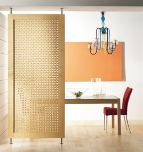 Door functions as a room divider in commercial and residential