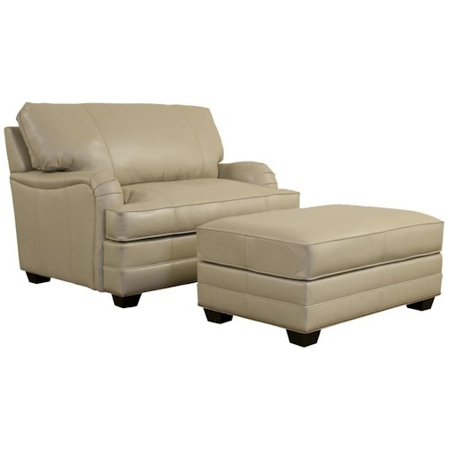 Elite Leather Imprint Leather Chair And A Half And Ottoman
