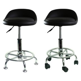 Height adjustable undersized padded stool with low profile and casters