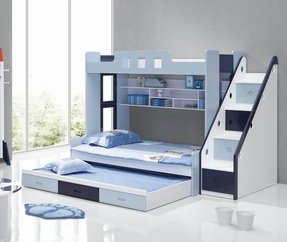 Kids bunk beds with 3 drawer storage under bed and