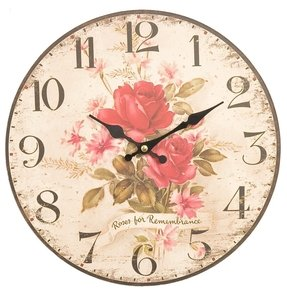 New shabby chic distressed red rose wall clock
