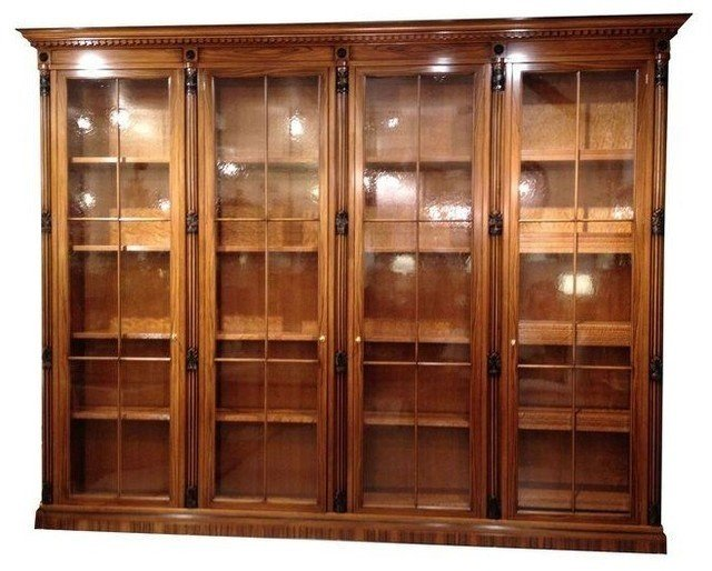 Used italian bookcase library with glass doors traditional bookcases