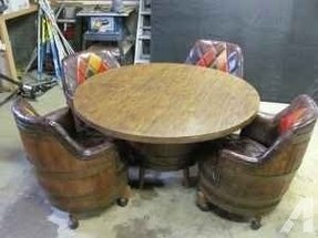 Whiskey wine barrel table and chairs oil city area for