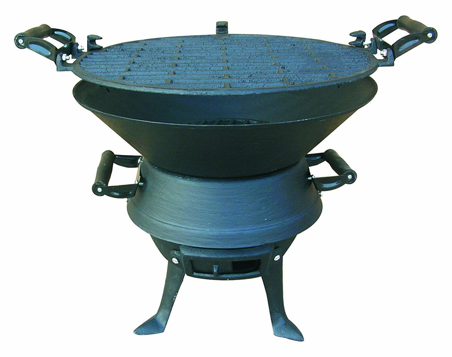 Cast Iron Barrel Charcoal Bbq With Adjustable Grill Garden Camping Barbeque