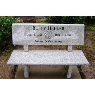 Creamy gray memorial bench with back