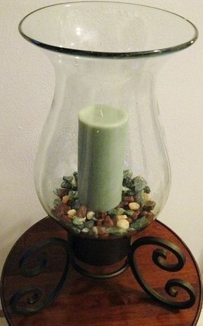 Extra large vintage wrought iron candle holder w hurricane glass