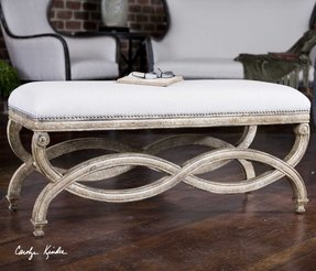 French country style painted furniture bed bench bedroom stool ottoman