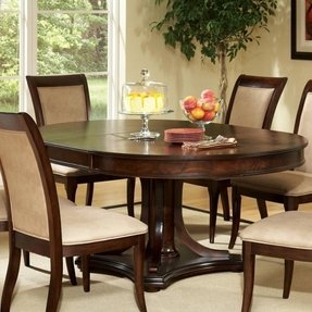 Mille Transitional Round Top Dining Table With Pedestal Base