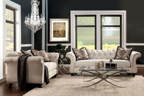 Sm 2221 living room set traditional style camelback seat silver