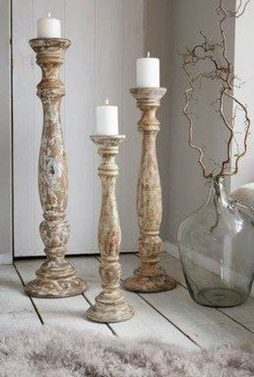 Tall wooden candle holders
