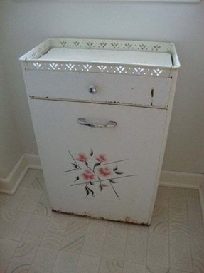 Antique tole clothes hamper metal with drawer