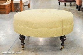 Huntington house round yellow ottoman with casters