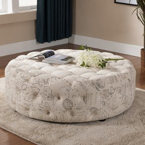 Astonishing Round Tufted Ottoman Coffee Table Ideas On Foter Short Links Chair Design For Home Short Linksinfo