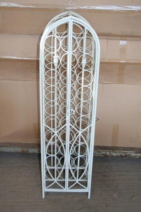 Wrought iron 32 bottle white finish wine rack