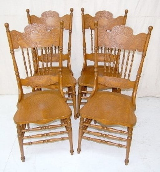 Charmant 164a Set Of 4 Antique Oak Pressed Back Chairs