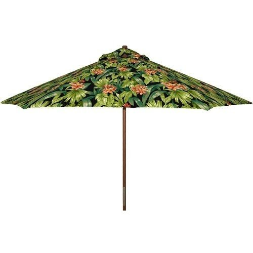 Better Homes And Gardens Black Tropical Hibiscus 9 Wood Market Umbrella