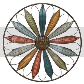 Round Metal Wall Decor Large Flower Accent W Radiating Petals