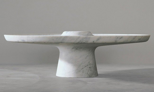 Round White Marble Coffee Table By Marc Newson