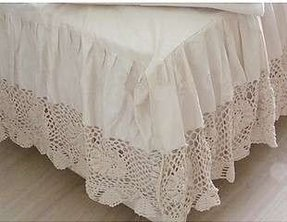 Super king crochet lace bed skirt sheet set 198cmx203cm