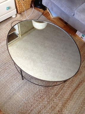 West elm mirror coffee table oval antiqued glass