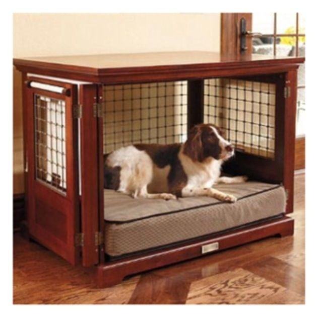 This Element Of Furniture Can Serve As A Small Table With Wooden Frame And  Smooth Top Made Of Wood. The Lower Area Serves As A Dog Crate With Solid  Metal ...