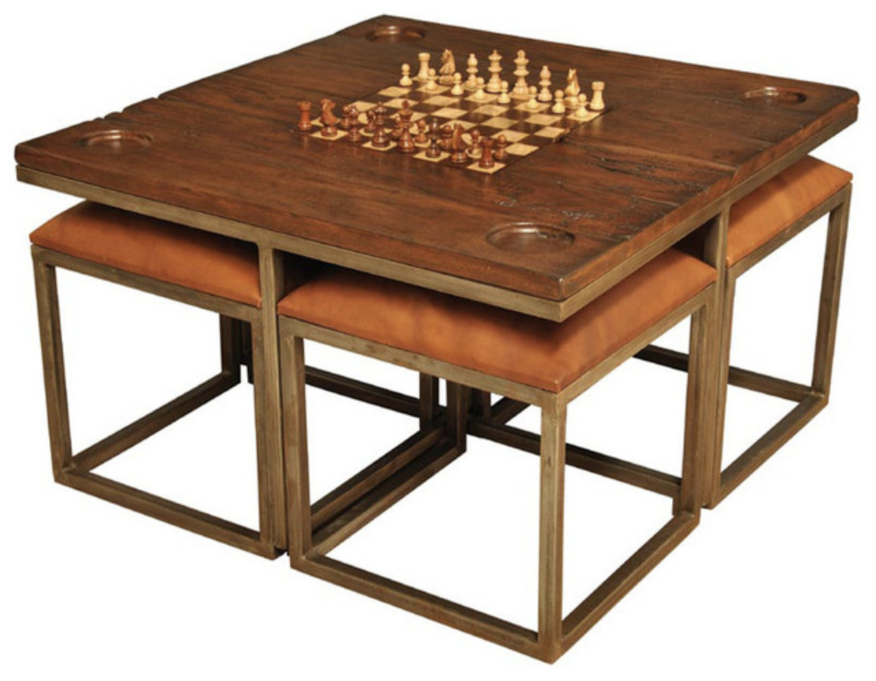 Edwards Game Table 4 Stools Iron Leather Antique Wood Game
