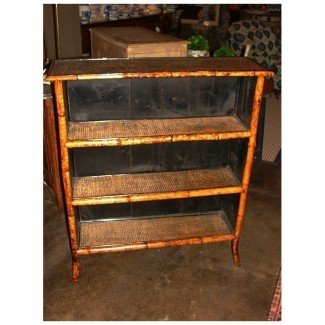 English bamboo open bookcase 1