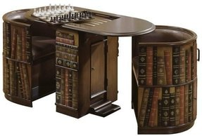 Leather library game table with 2 nesting chairs