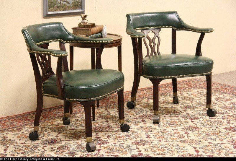 Pair Of Hickory Chair Vintage Leather Rolling Game Table Armchairs