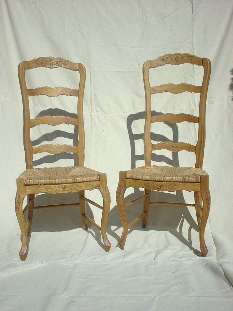 Country French Ladder Back Arm Chair With Rush Seat