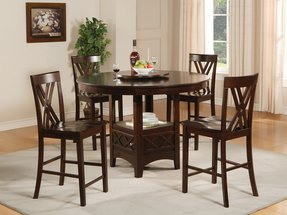 Details about 5pc round espresso wood counter height dining table