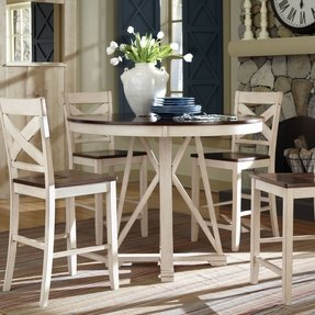 Elegant Round Bar Height Dining Table Set