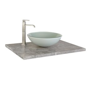 Glass vanity top for vessel sink