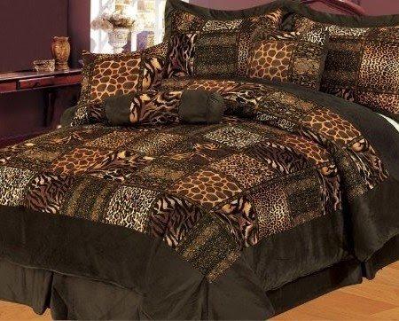 7 Piece KING Safari Comforter Set Zebra Giraffe Leopard ...