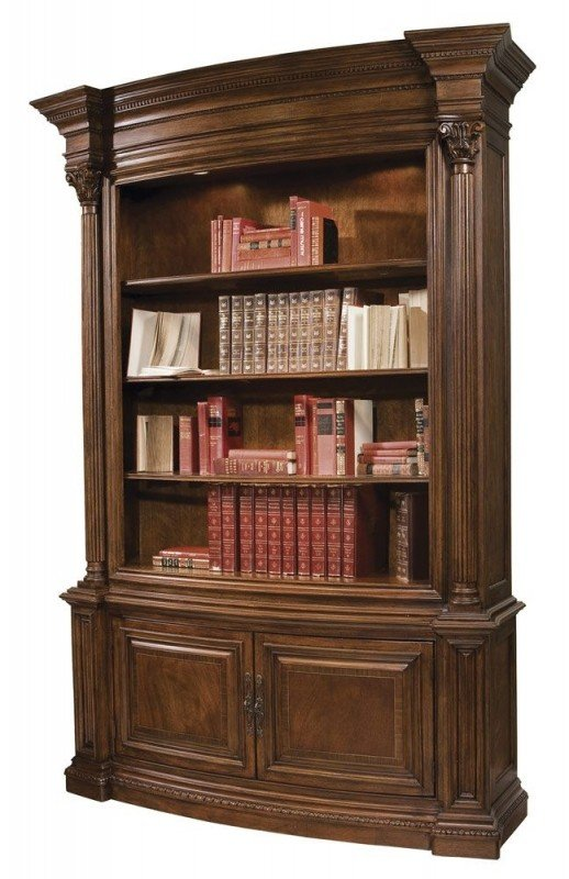 Bookcases with glass doors on top and wood doors on