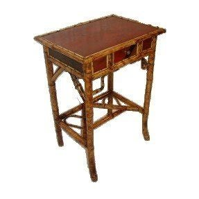 English red lacquer bamboo side table