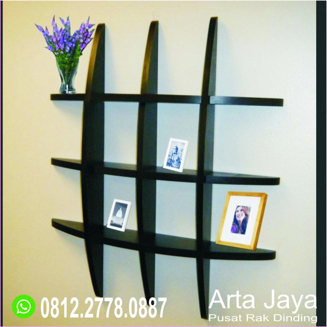 Large Rectangle black wire wood  retro wall shelf unit shelving display home