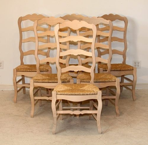 Set Of 6 Country French Tall Ladder Back Side Chairs