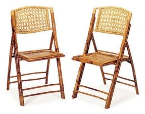 Set of eight bamboo and rattan folding chairs