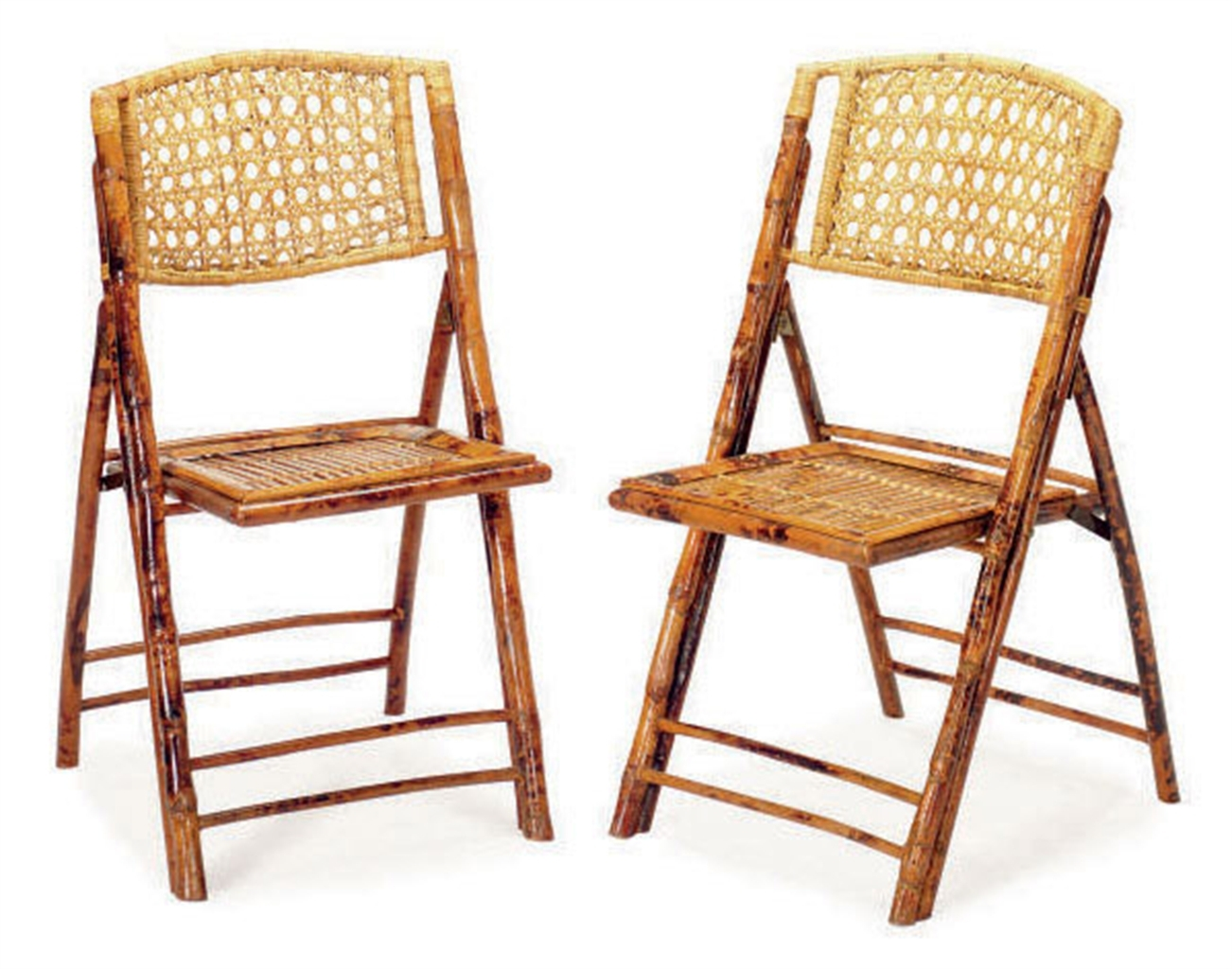 Superior Set Of Eight Bamboo And Rattan Folding Chairs