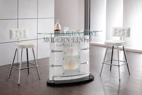 Ultra modern bar table featuring white veneer tinted top tempered